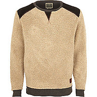 Ecru Holloway Road suede trim borg sweat