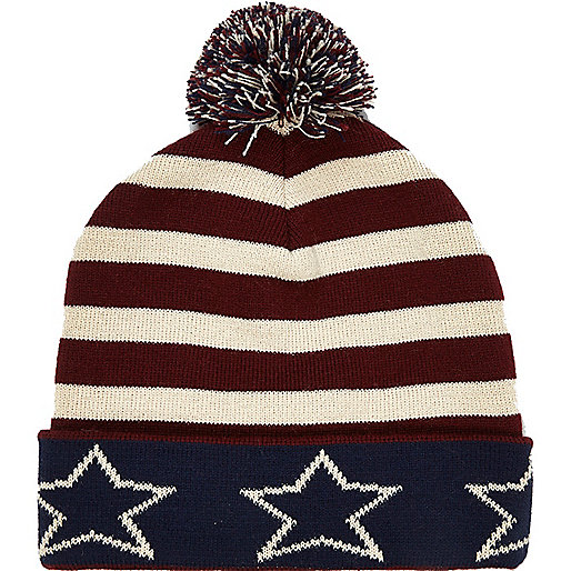 Dark red stars and stripes beanie hat