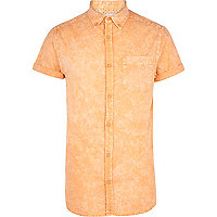 Orange acid wash short sleeve shirt