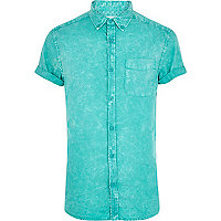 Green acid wash short sleeve shirt