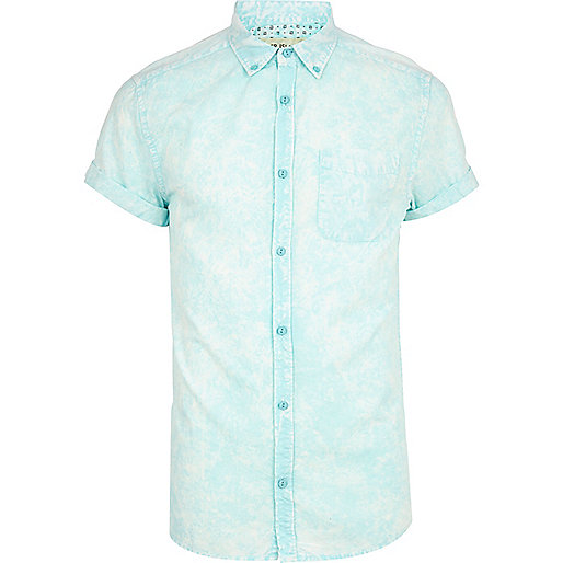 Aqua blue acid wash short sleeve shirt