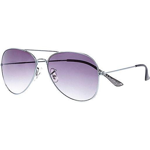 Grey metal aviator sunglasses