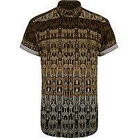 Black tribal print short sleeve shirt
