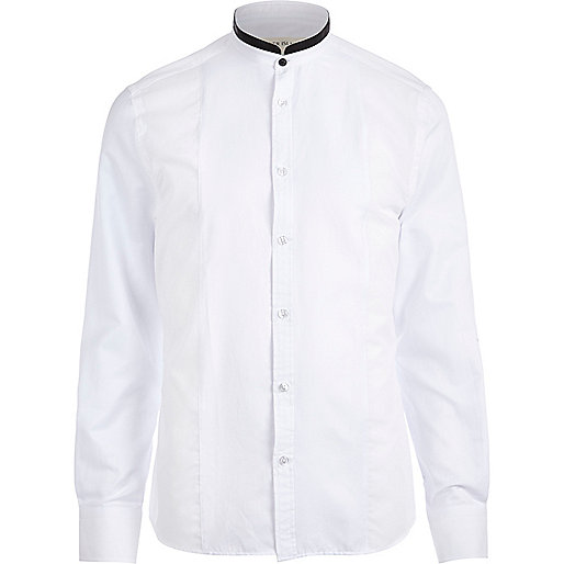 White contrast grandad collar shirt