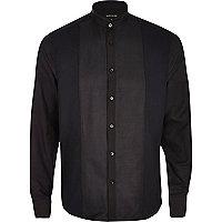 Black leather-look panel grandad shirt