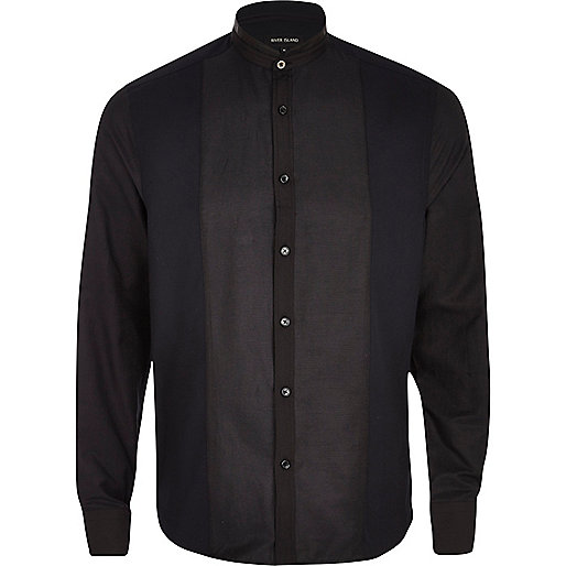 Black leather-look panel grandad shirt