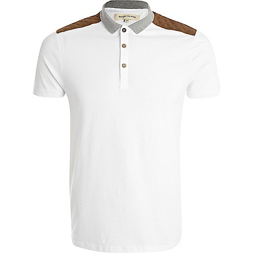 White quilted shoulder patch polo shirt