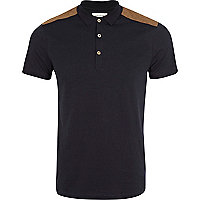 Navy quilted shoulder patch polo shirt