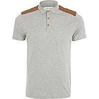 Grey quilted shoulder patch polo shirt
