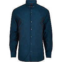 Teal collar pin shirt