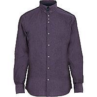 Purple collar pin shirt