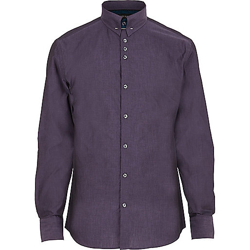 Purple collar pin shirt