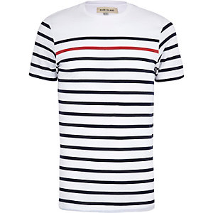 Navy contrast stripe short sleeve t-shirt