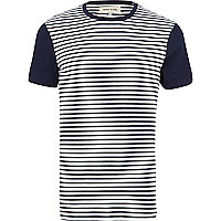 Navy colour block stripe t-shirt