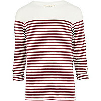Ecru breton stripe roll sleeve t-shirt