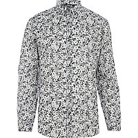Black abstract floral print long sleeve shirt