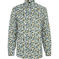 Blue abstract floral print long sleeve shirt
