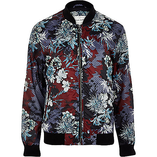 Dark red oriental print bomber jacket