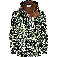 Green abstract print parka jacket