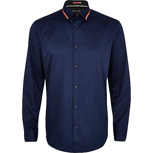 Navy fluro trim long sleeve shirt