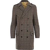 Dark green Holloway Road tweed check coat