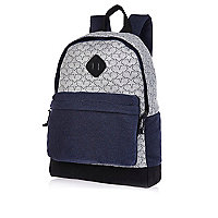 Grey star print jersey backpack