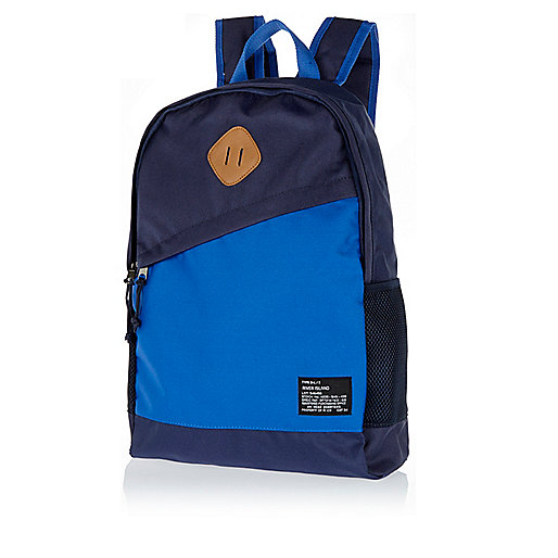 Navy slanted pocket backpack