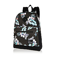 Black floral print backpack