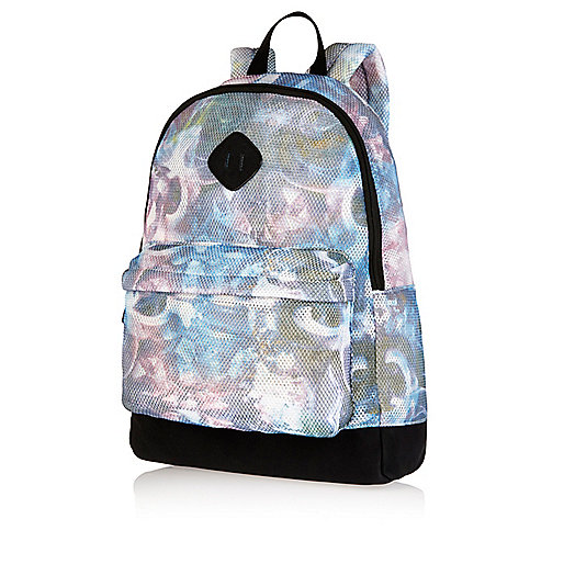 Blue crystal print mesh backpack