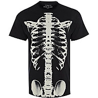 Black skeleton print t-shirt