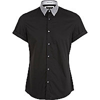 Black contrast collar short sleeve shirt