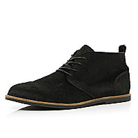 Black faux pony hair desert boots
