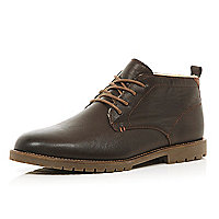Dark brown cleated sole lace up boots