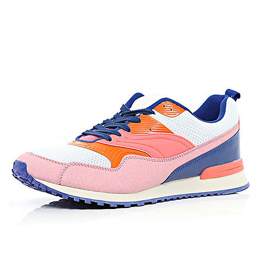 Pink colour block running trainers