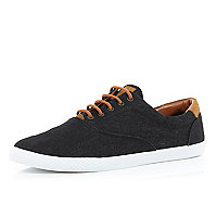 Black denim lace up plimsolls