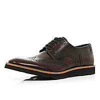 Dark red high shine chunky sole brogues