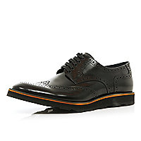 Black high shine chunky sole brogues