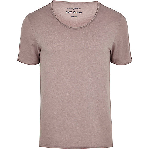 Pale lilac marl low scoop t-shirt
