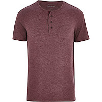 Dark red marl grandad t-shirt