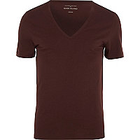Dark red V neck short sleeve t-shirt