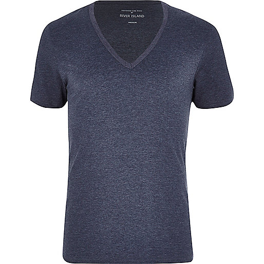 Blue marl V neck short sleeve t-shirt