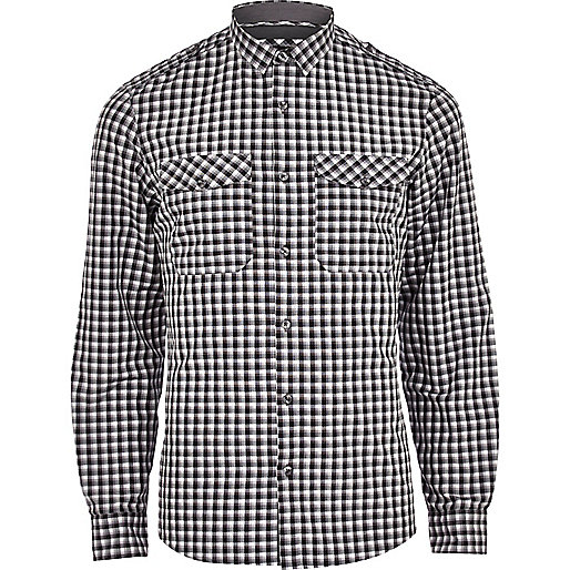 Black check long sleeve military shirt