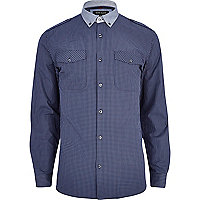 Navy check military shirt
