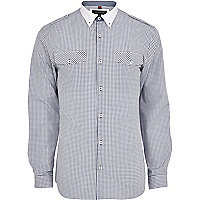 White grid check long sleeve military shirt