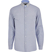 Light blue textured contrast collar shirt