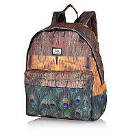 Brown Hype peacock feather print backpack