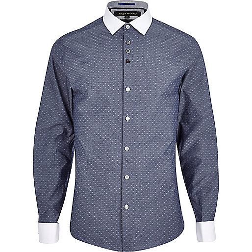 Blue ditsy print chambray Oxford shirt