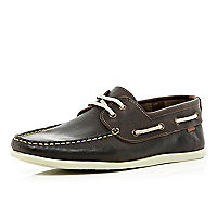 Dark brown slim boat shoes