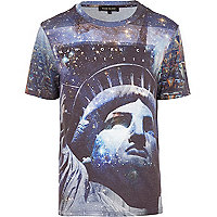 Blue Statue of Liberty space print t-shirt