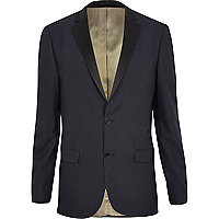 Navy textured tux blazer